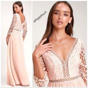 Lulus Avalynn Blush Lace Chiffon Maxi Dress